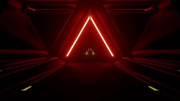 빨간색과 노란색 네온 불빛이 있는 삼각형 모양의 어두운 끝없는 터널의 4k uhd 추상 배경의 3d 그림