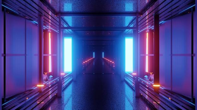 壁に青と赤のネオン照明と無限の廊下の4kuhd抽象的な背景の3dイラスト