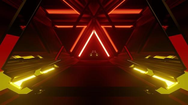 선명한 네온 불빛으로 조명된 독일 국기 스타일의 삼각형 모양 터널의 4k uhd 추상 배경 3d 그림
