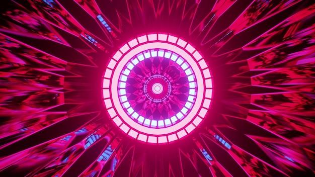 미래형 터널에서 둥근 네온 램프를 둘러싼 4k uhd 추상 분홍색 장식의 3d 그림