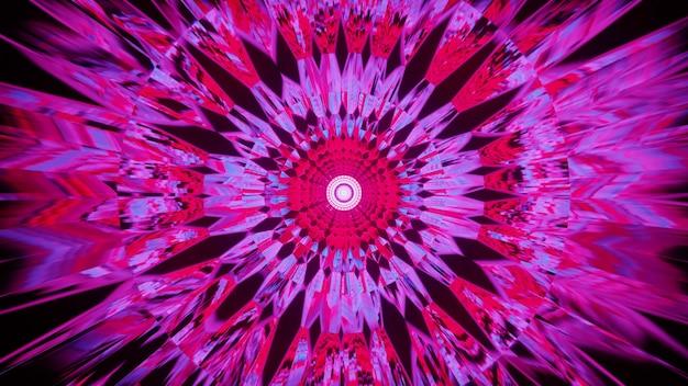 추상 만화경 장식을 형성하는 4k uhd 밝은 분홍색 네온 결정의 3d 그림