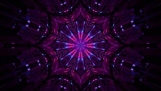 추상 만화경 장식으로 형성된 4k uhd 어두운 대칭 터널의 3d 그림