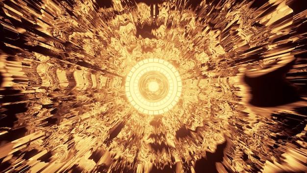 둥근 모양의 황금 네온 램프 장식이 있는 4k uhd 미래형 터널의 3d 그림