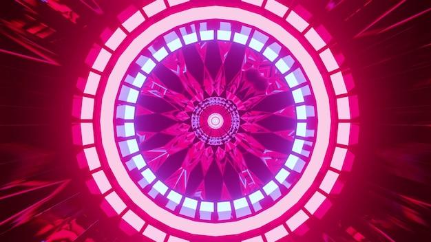 추상 터널 내부에 원을 형성하는 4k uhd 선명한 분홍색 네온 램프의 3d 그림