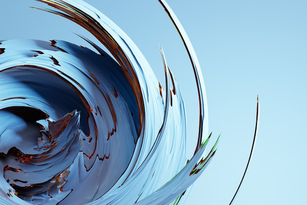 きらめく円と光沢のある抽象的な青と金の背景の3dイラスト。美しいイラスト。紫の回転効果を持つ抽象的な背景