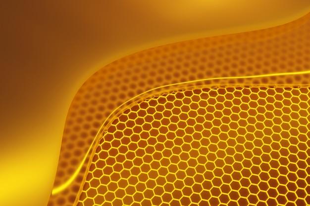 3d иллюстрации фона с сотами, сладкие капли меда. медовая мозаика.