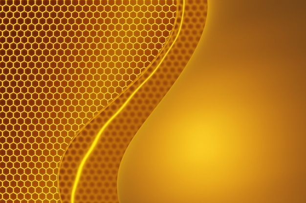 3d иллюстрации фона с сотами, сладкие капли меда.