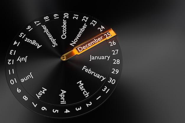 Трехмерная иллюстрация круглых часов с черным календарем с 12 месяцами показывает дату 25 декабря на черном фоне. круглый календарный месяц.