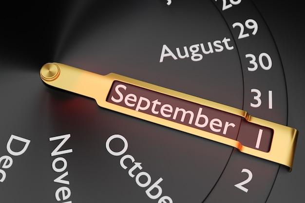 Трехмерная иллюстрация круглых часов с черным календарем с 12 месяцами показывает дату 1 сентября на черном фоне. круглый календарный месяц.