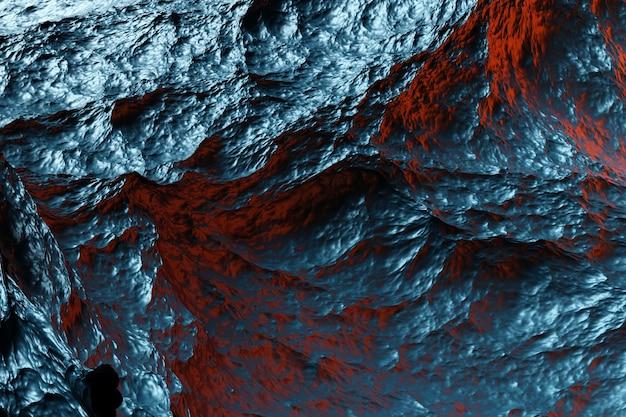 3d иллюстрации синего глубокого океана во время шторма под оранжевым светом заката, вид сверху. сильный шторм на море