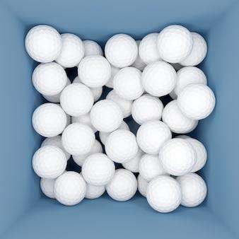 3d иллюстрации коробки с большим количеством белых мячей для гольфа, вид сверху.