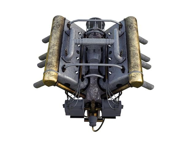 흰색 바탕에 자동차 엔진의 3d 그림.