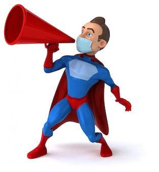 Иллюстрация 3d персонажа из мультфильма с маской для предохранения от коронавируса