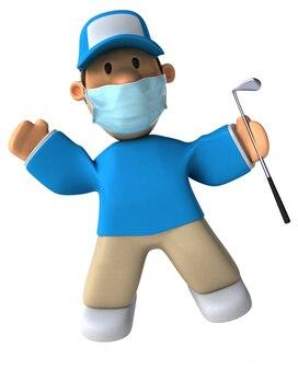3d иллюстрации мультяшный игрок в гольф