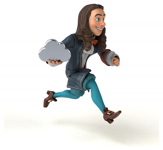 3d иллюстрации мультфильм человек в историческом костюме барокко