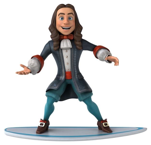 3d иллюстрация мультяшного человека в костюме исторического барокко