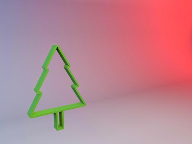 グラデーションの背景にクリスマスツリーの3dイラスト