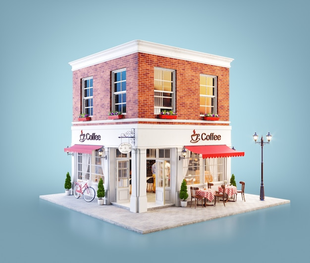 3d иллюстрации уютного здания кафе с красным навесом и уличными столами