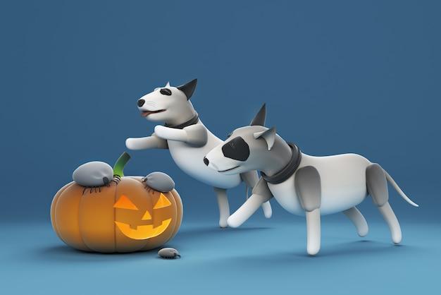 3d иллюстрации собаки, играющей в клеща на тыкве