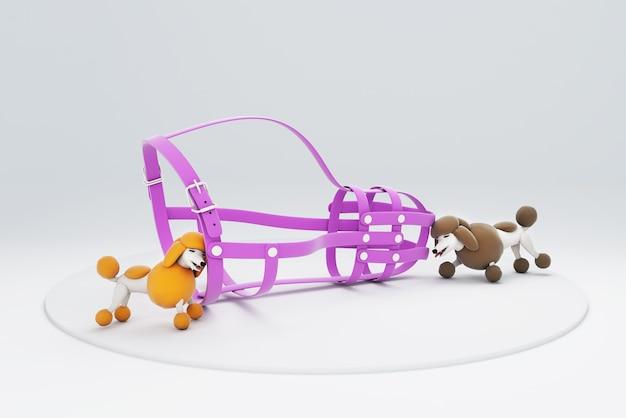 遊んでいる犬の3dイラスト