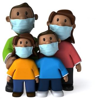 マスクを持つ家族の3 dイラストレーション