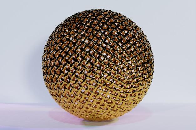 多くの顔の結晶が白い背景に散らばっている金の金属球の3dイラスト