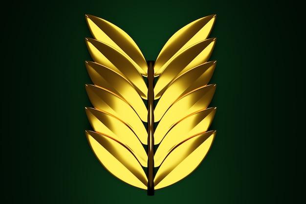 同じ葉を持つ金色の小枝の3dイラスト