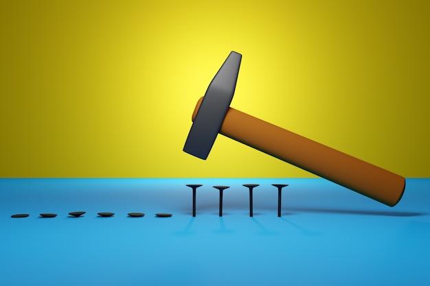 黄色の木製ハンドルハンマーでハンマーの3 dイラストレーション