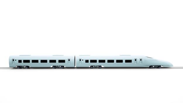 고속 여객 열차, 지하철의 3d 그림. 흰색 배경, 고속 기관차 자동차에 고립 된 흑백 디자인 요소입니다.