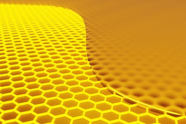 3d иллюстрации соты монохромные соты с плавным желтым медом. медовая мозаика.