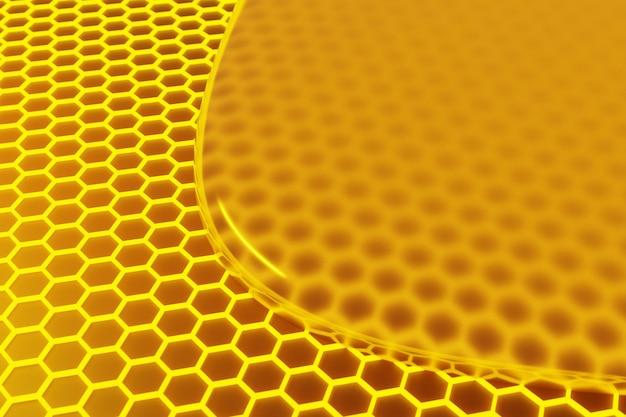 3d иллюстрации соты монохромные соты с плавным желтым медом.