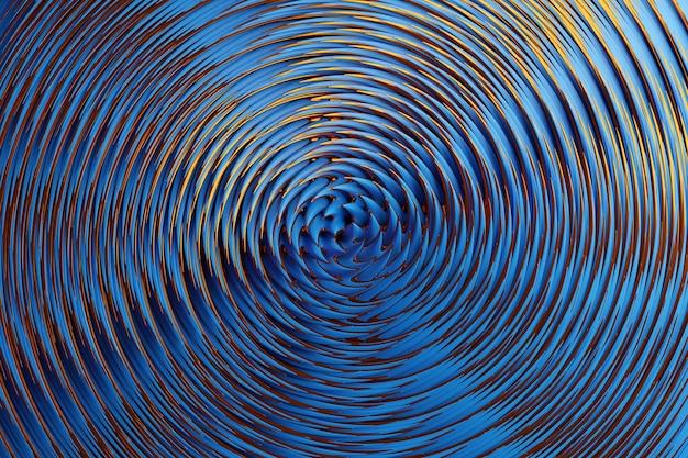 최면 패턴의 3d 그림입니다. 반짝이 원과 반짝이와 추상 파란색 배경입니다. 고급스러운 배경 디자인