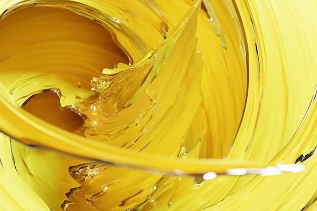催眠パターンの3dイラスト。きらめく円とキラキラとゴールドの背景を持つ抽象的な黄色。豪華な背景デザイン