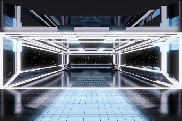 우주선이나 우주 정거장의 내부의 3d 일러스트.