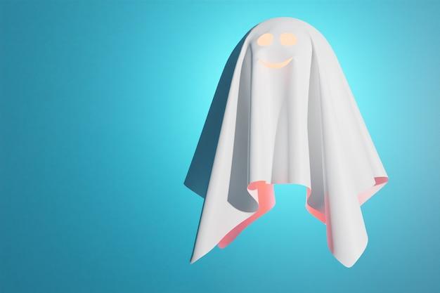 白いシートの優しい幽霊の3dイラストが飛んで、青い背景の内側から光ります。アルワンの幽霊