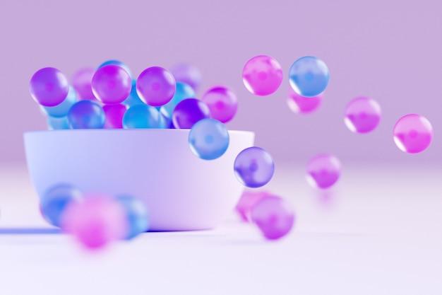 ピンクの背景にさまざまな方向に飛んでいるカラフルなガラス球と大きなプレートの3dイラスト。光沢のあるビーズ