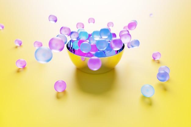 カラフルなガラスのボールが黄色の背景にさまざまな方向に飛んでいる大きなプレートの3dイラスト。光沢のあるビーズ
