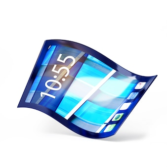 흰색에 고립 된 유연한 화면 휴대 전화의 3d 일러스트