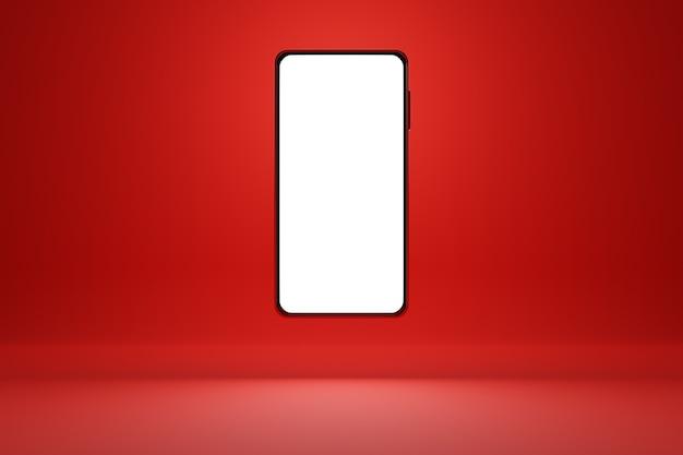 赤い孤立した背景の上の白い画面で現代のスマートフォンの3dイラスト。