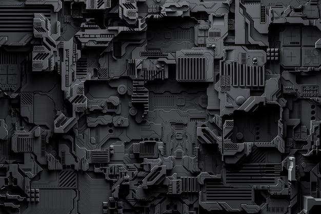 金属の形のパターンの3dイラスト、宇宙船またはロボットの技術的なメッキ。コンピュータゲームのスタイルの抽象的なグラフィック。ネオンライトの黒いサイバーアーマーのクローズアップ