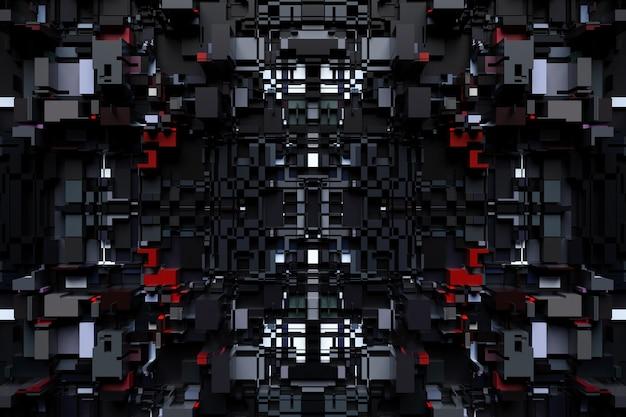 금속, 우주선 또는 로봇의 기술 도금 형태의 패턴의 3d 그림. 컴퓨터 게임 스타일의 추상 그래픽. 네온 불빛에 검은 사이버 갑옷의 클로즈업