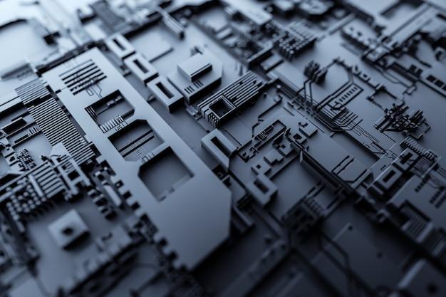 3д иллюстрация выкройки в виде металла, технологической обшивки космического корабля или робота. абстрактная графика в стиле компьютерных игр. крупным планом черная кибер броня