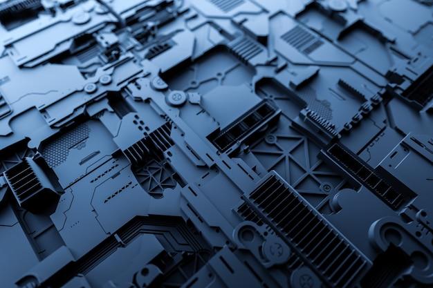 3д иллюстрация выкройки в виде металла, технологической обшивки космического корабля или робота. абстрактная графика в стиле компьютерных игр. крупный план синей кибер-брони на неоновых огнях