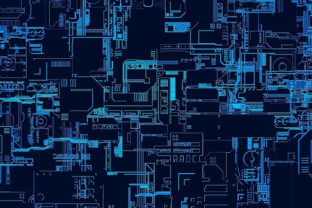 3д иллюстрация шаблона в виде металла, технологической обшивки космического корабля или робота. абстрактная графика в стиле компьютерных игр. крупный план синей кибер-брони на неоновых огнях