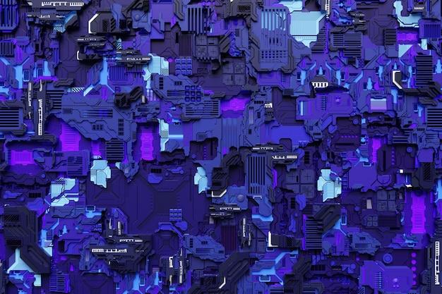 3д иллюстрация выкройки в виде металла, технологической обшивки космического корабля или робота. абстрактная графика в стиле компьютерных игр. закройте синюю кибер-броню на неоновых огнях