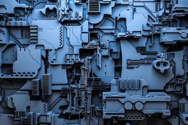 3д иллюстрация выкройки в виде металла, технологической обшивки космического корабля или робота. абстрактная графика в стиле компьютерных игр. закройте синюю кибер-броню