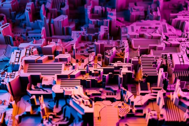 3д иллюстрация выкройки в виде металла, технологической обшивки космического корабля или робота. абстрактная графика в стиле компьютерных игр. крупным планом розовая кибер-броня на неоновых огнях