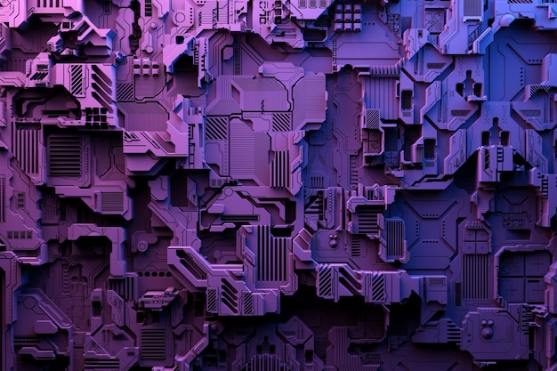 3д иллюстрация шаблона в виде металла, технологической обшивки космического корабля или робота. абстрактная графика в стиле компьютерных игр.