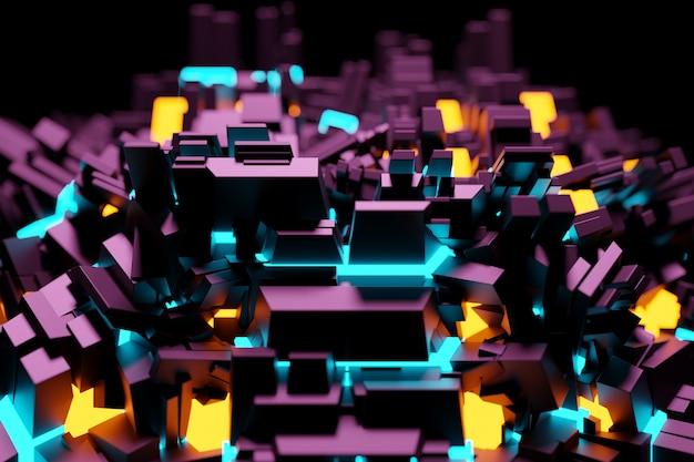 宇宙船またはロボットの金属技術メッキの形でパターンの3dイラスト