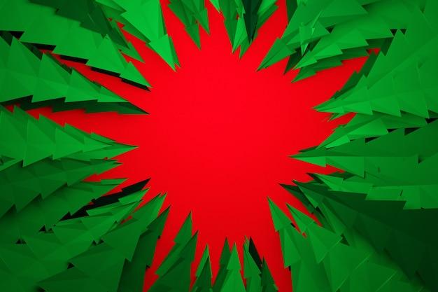 밝은 빨간색 배경에 원 모양의 녹색 침엽수 나무의 패턴과 중간에 흰색 원 디자인의 3d 그림. 종이 접기 스타일의 크리스마스 트리